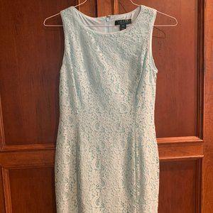 Ralph Lauren Pale Blue Floral-Lace Sheath Dress